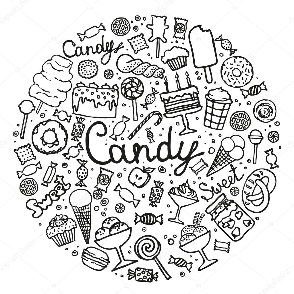 Drawn candy wrapped candy Vector Stock #113062566 — set