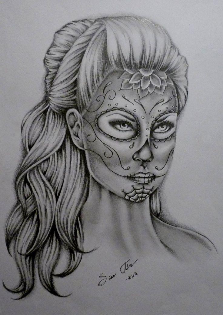 Drawn sugar skull pencil drawing Skull by Pinterest 17 Lady