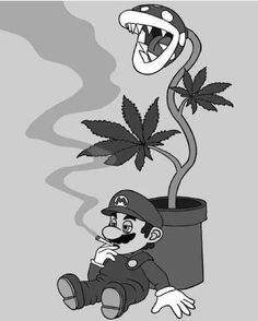 Drawn cannabis character #13