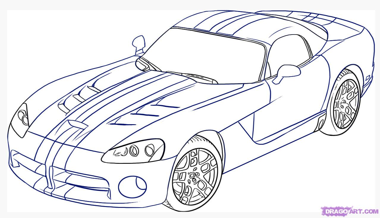 Drawn vehicle doodle Viper Dodge step Step Draw