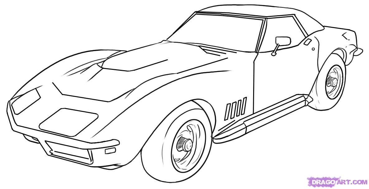 Drawn vehicle corvette 5 car Online to Draw