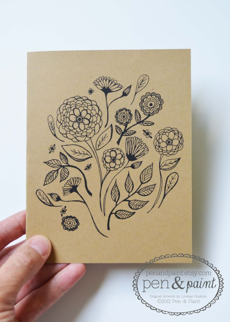 Drawn cards Folded Set ideas Flowers Hand