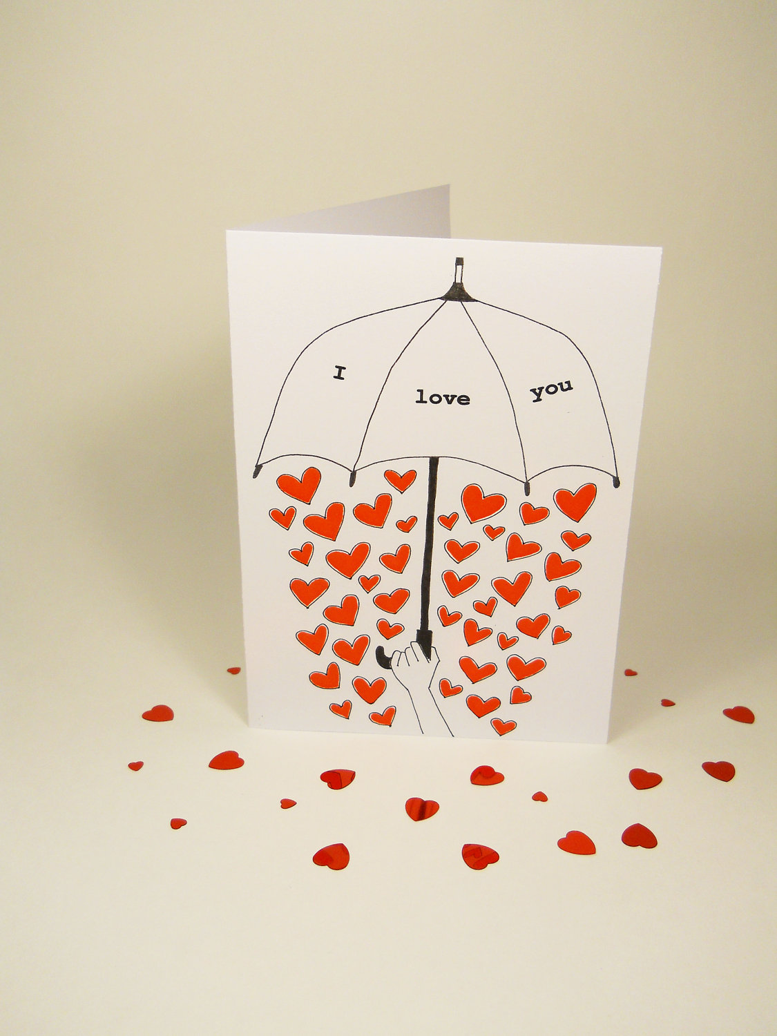 Drawn cards Umbrella drawn Valentines card black
