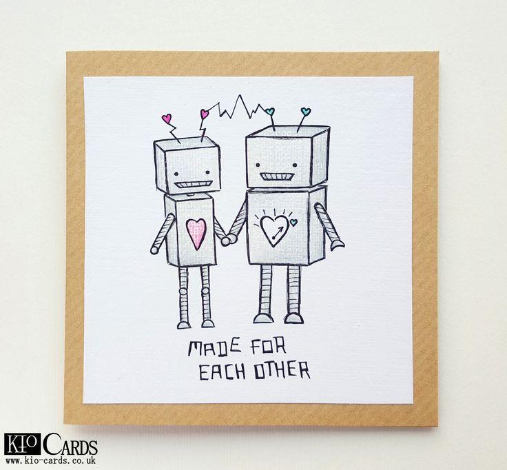 Drawn card #valentinescards HAND ROBOTS DRAWN #robots