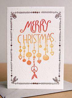 Drawn card Tribal Christmas Drawn letterpress card