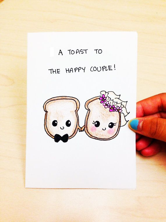 Drawn button Funny Wedding couple card to