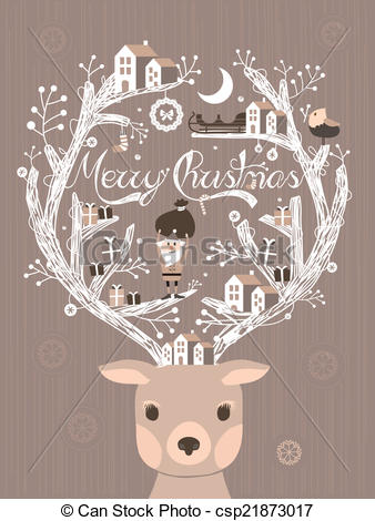 Drawn card graphic Christmas design Vector or