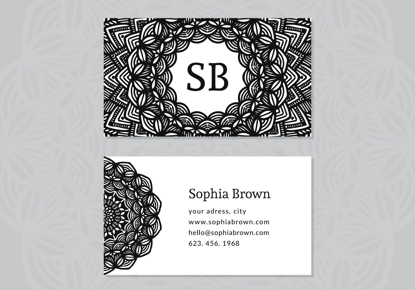 Drawn card graphic Business Business decoration Vector set