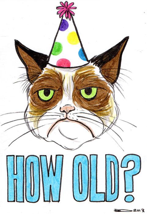 Drawn card grumpy cat #7
