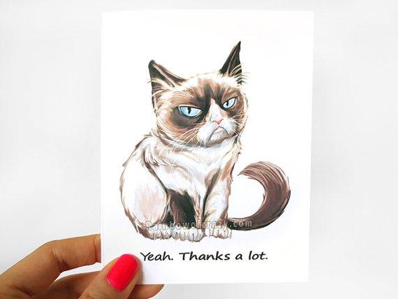 Drawn card grumpy cat #15