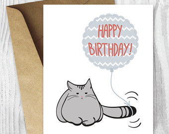 Drawn grumpy cat digital Birthday Card Card Card Printable
