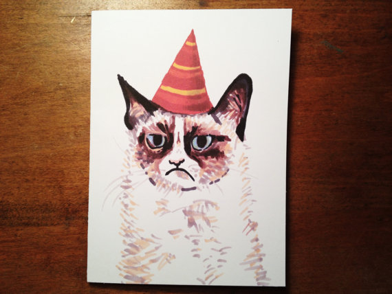 Drawn card grumpy cat #14