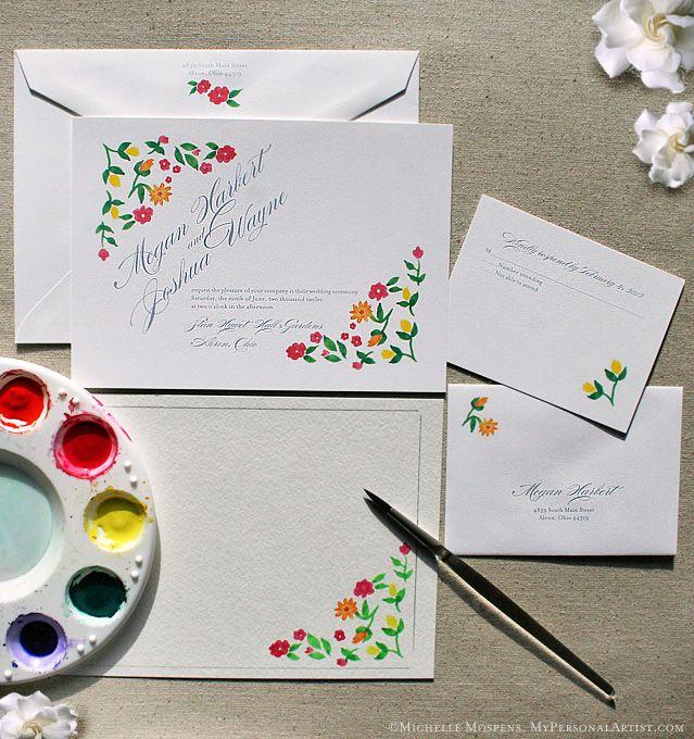 Drawn cards floral wedding #3