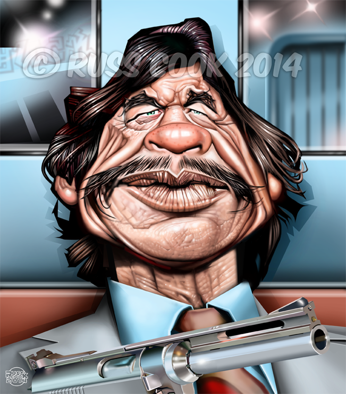 Drawn caricature airbrush 2014 Russ Cook: Charles Bronson