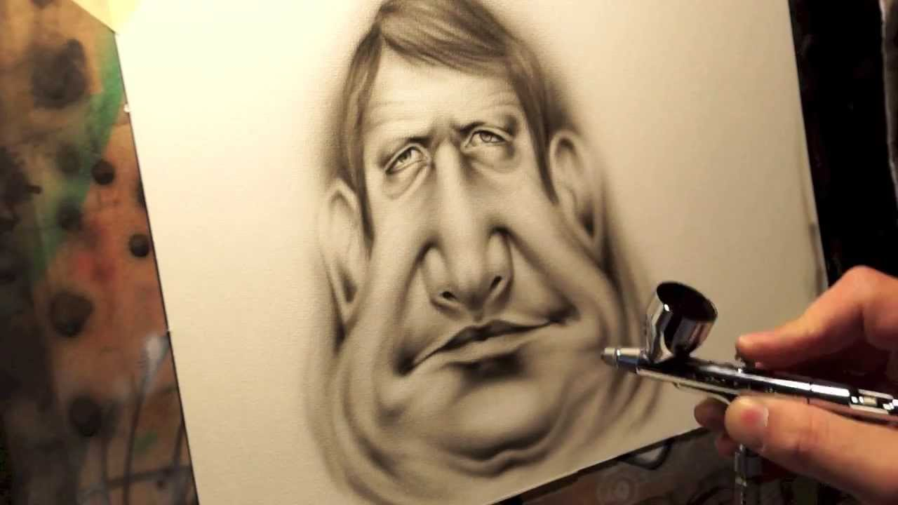Drawn caricature airbrush By El Piti Airbrush by