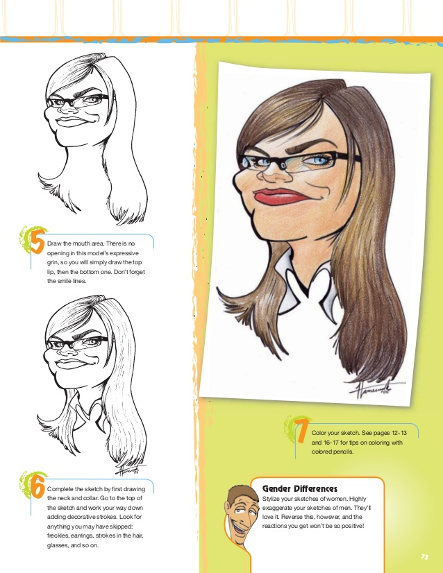 Drawn glasses looks real Caricatures portraits & the hair
