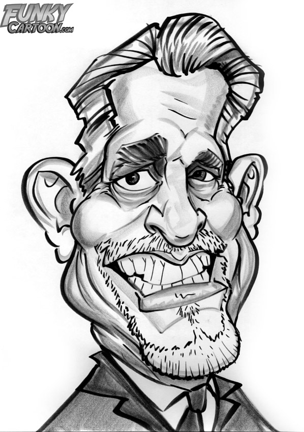 Drawn caricature black and white #8