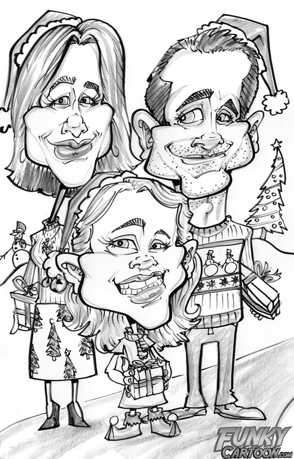 Drawn caricature black and white #6