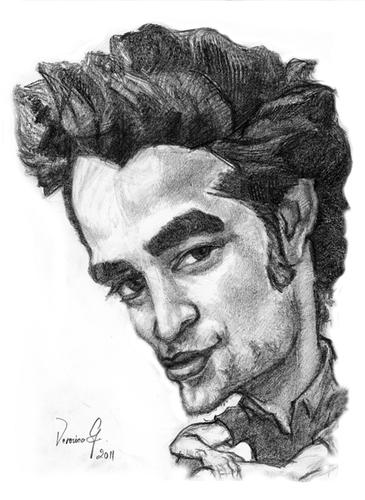 Drawn portrait famous Cartoon: Pattinson Robert Cartoon: Pattinson