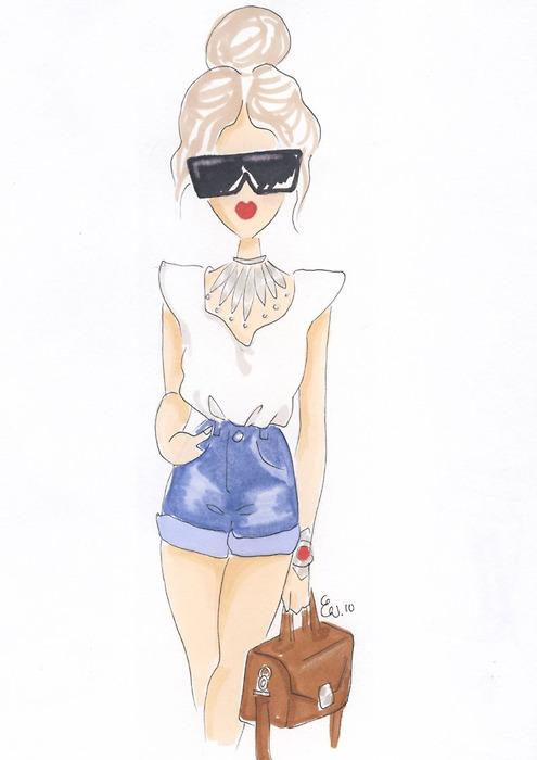 Drawn caricature fashion Cartoon girl this draw like