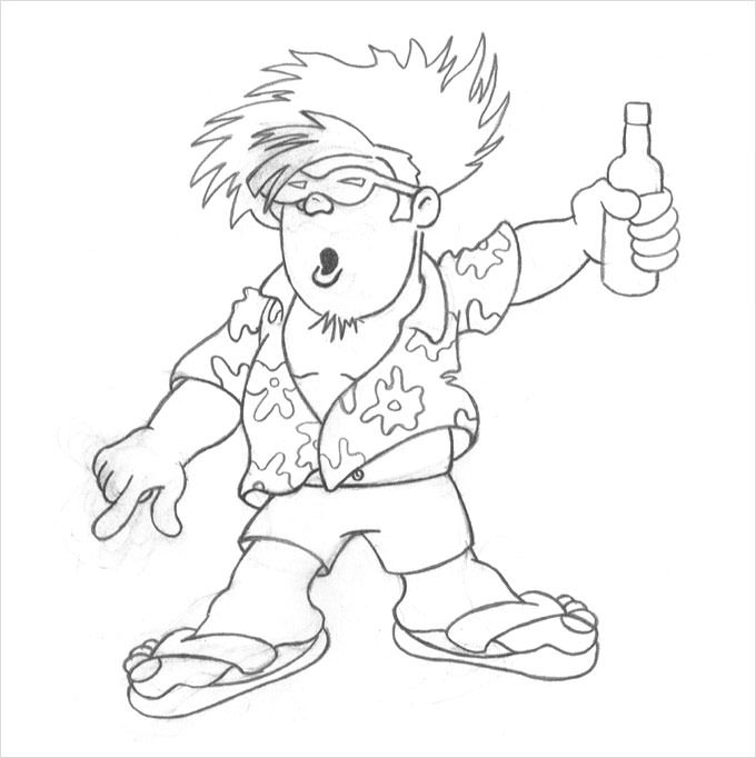 Drawn caricature pencil #14