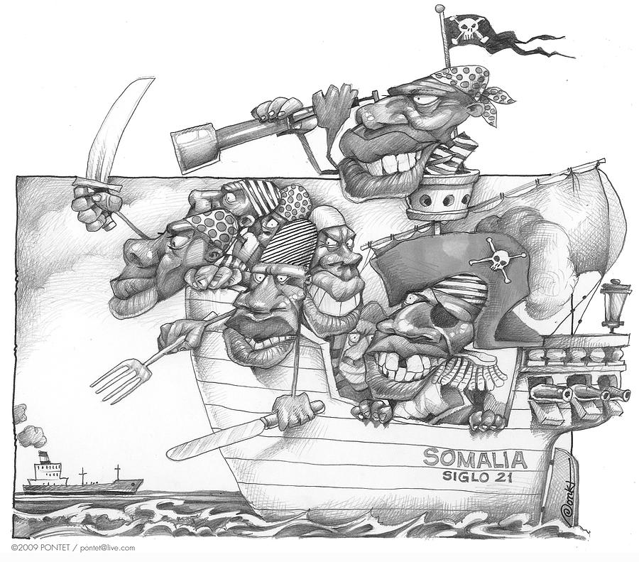Drawn caricature pirate By by PONTET Somali Drawing