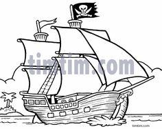 Drawn caricature pirate A book & Ship the