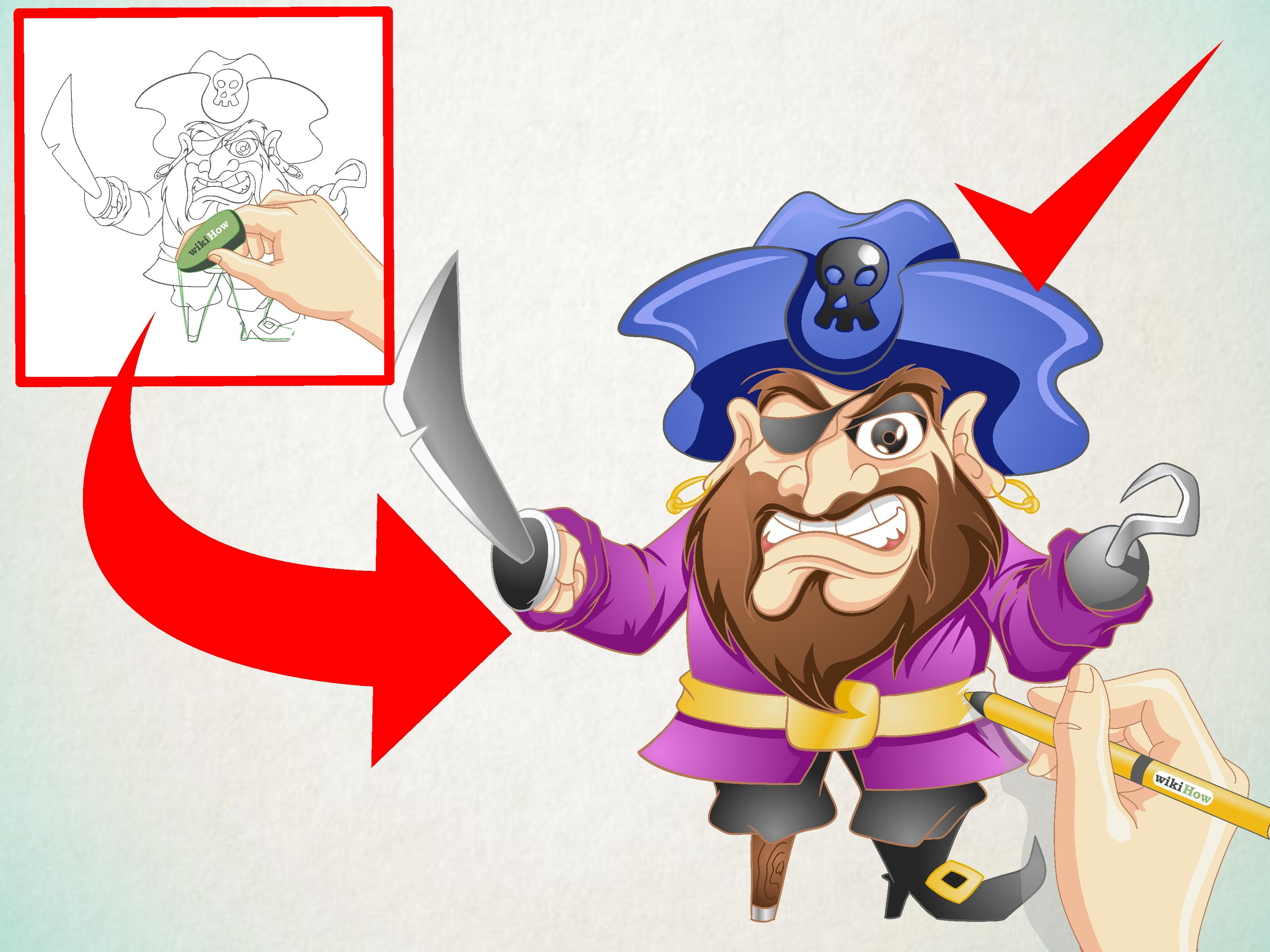 Drawn caricature pirate Pirate wikiHow to Cartoon Comics