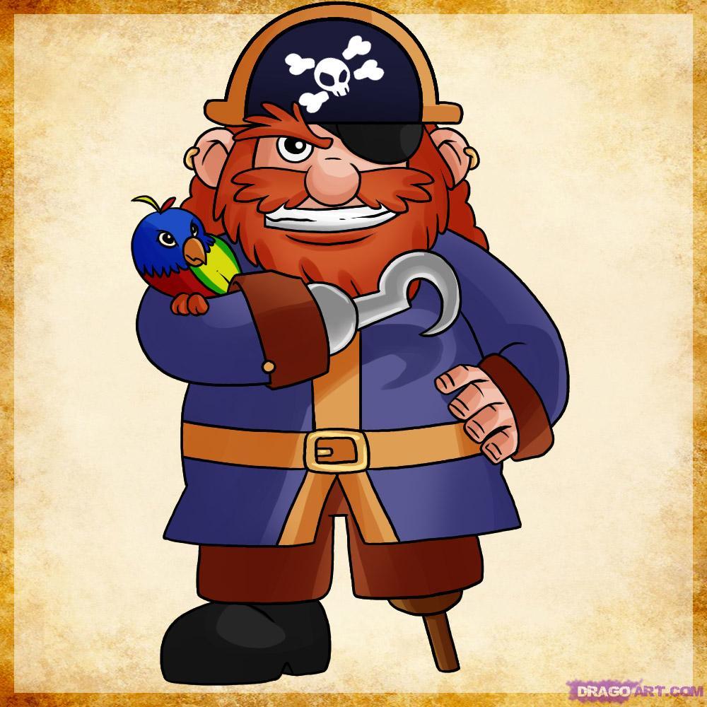Drawn caricature pirate A Step FREE Pirate draw