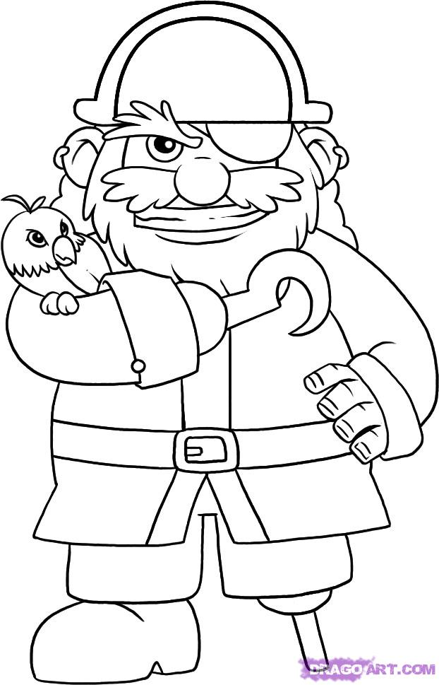 Drawn caricature pirate A Step Figures Draw draw