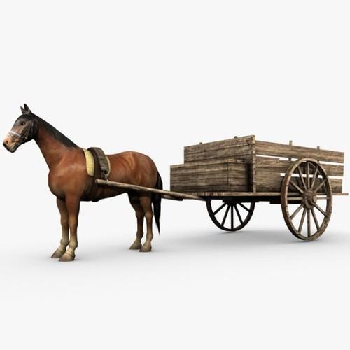 Drawn cart C4D 3D Wooden horse 3D