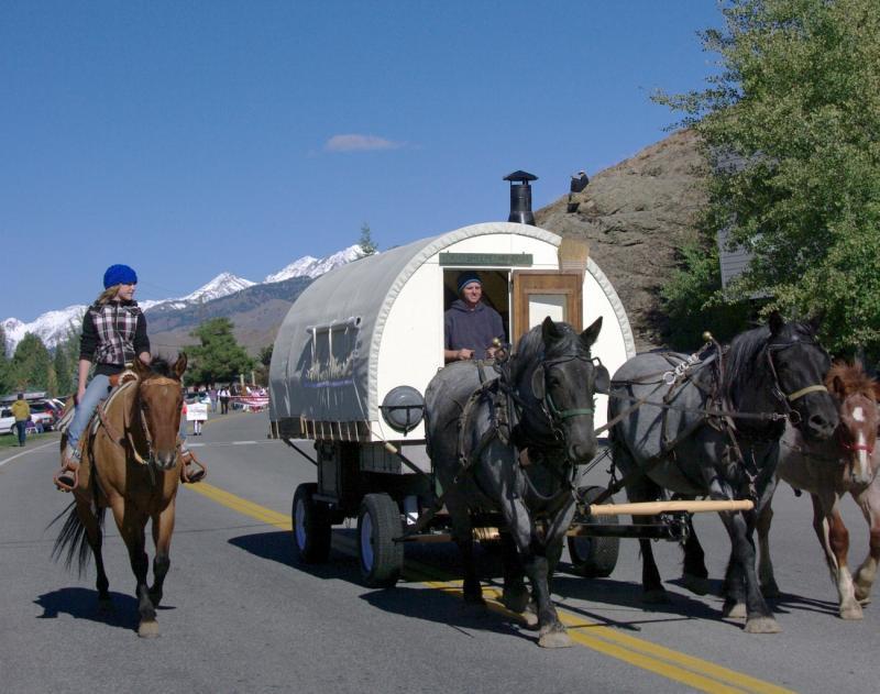 Drawn cart sheep At Camp WagonStarting Idaho Inc