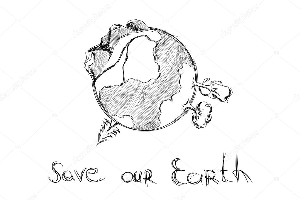 Drawn earth Stock Vector Stock Hand drawn
