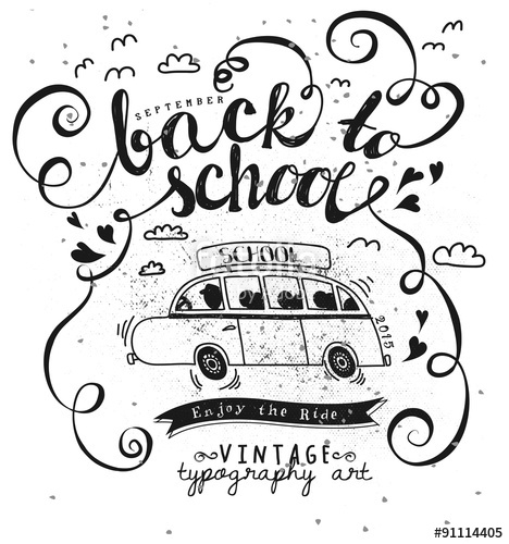 Drawn musical retro radio Typography Vintage School white illustrating