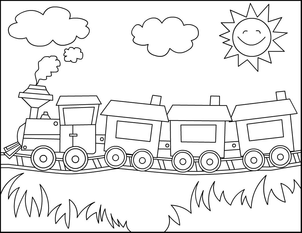 Drawn railroad cute Coloring templates free Free Christmas
