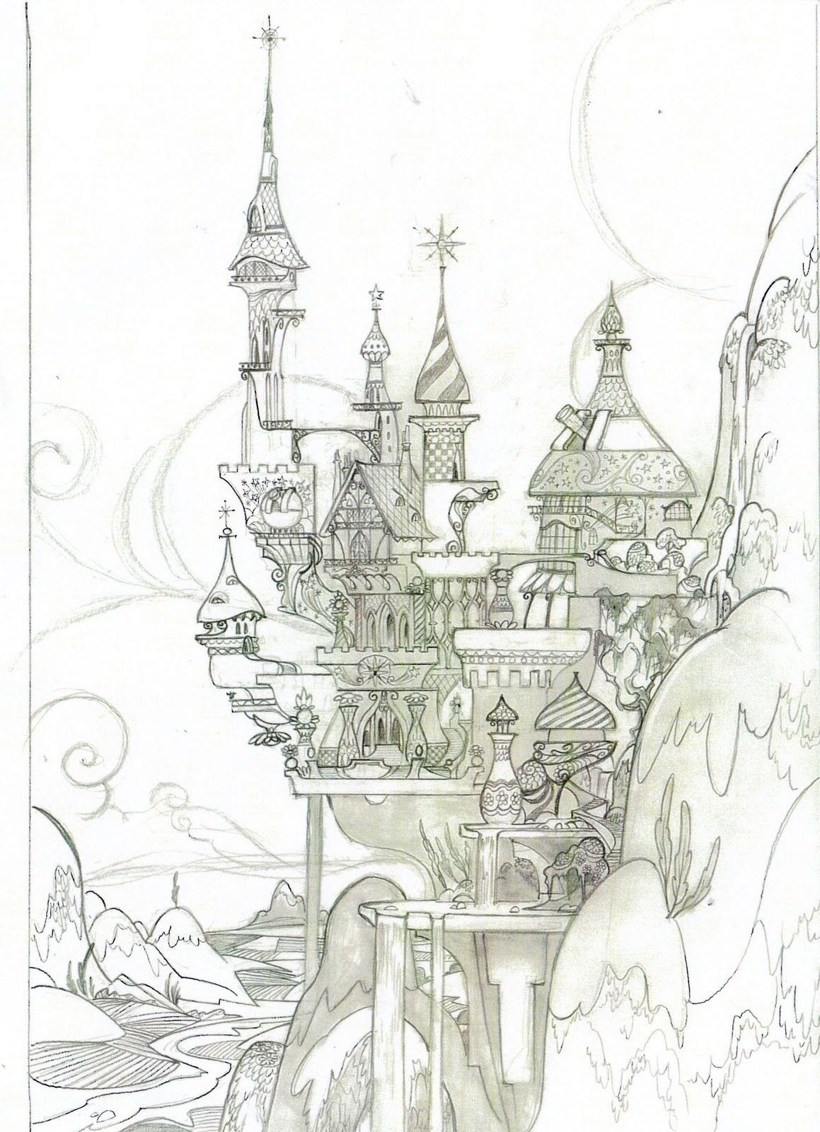 Drawn castle background #1