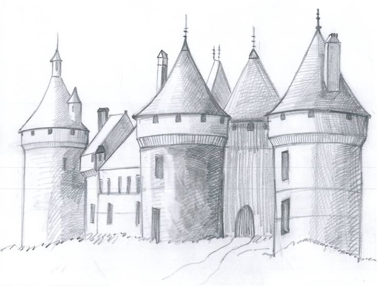 Drawn castle background #3