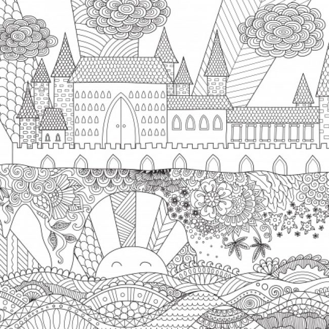 Drawn castle background #4