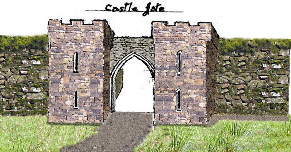 Drawn castle castle gate Hugh Castle Carlow