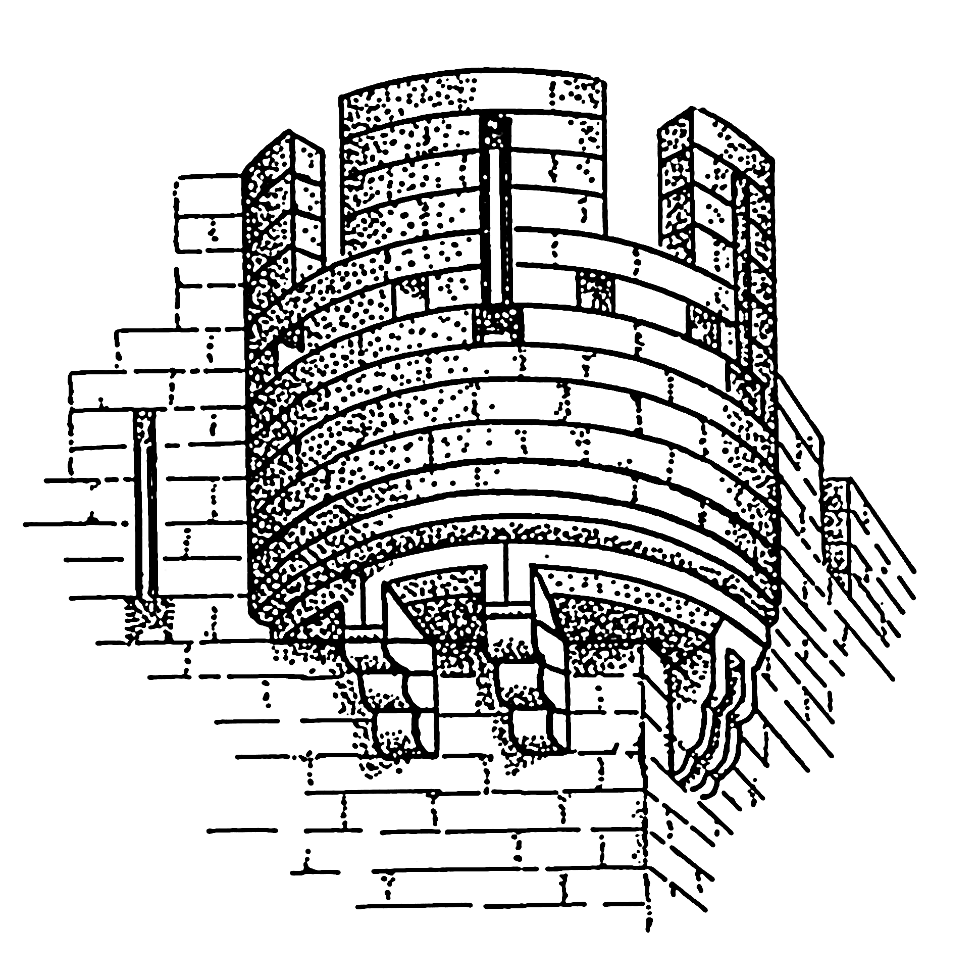 Drawn castle parapet wall Turret to a frequently Most