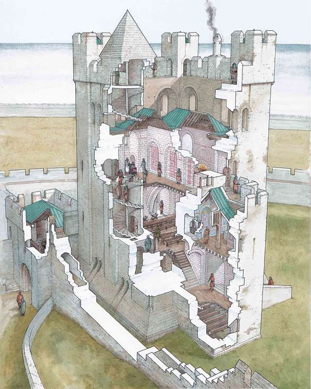 Drawn castle saxon Heritage English showing the looked