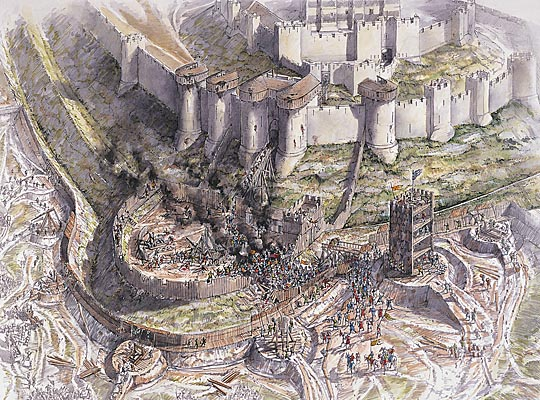 Drawn castle saxon The siege 1216 Artist's Dover