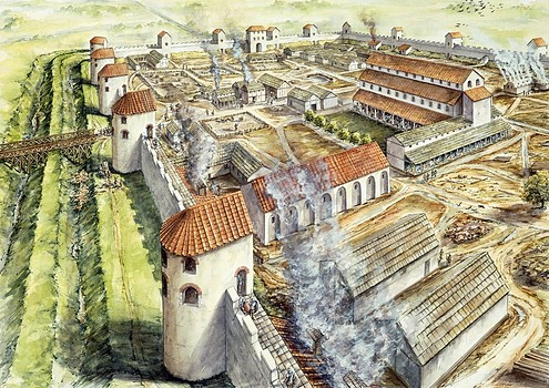 Drawn castle saxon Of Saxon drawing Reconstruction of