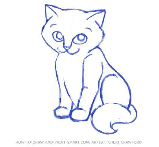 Drawn pice cat Step 8 How a a