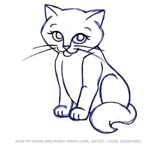 Drawn pice cat Step 10 How a a