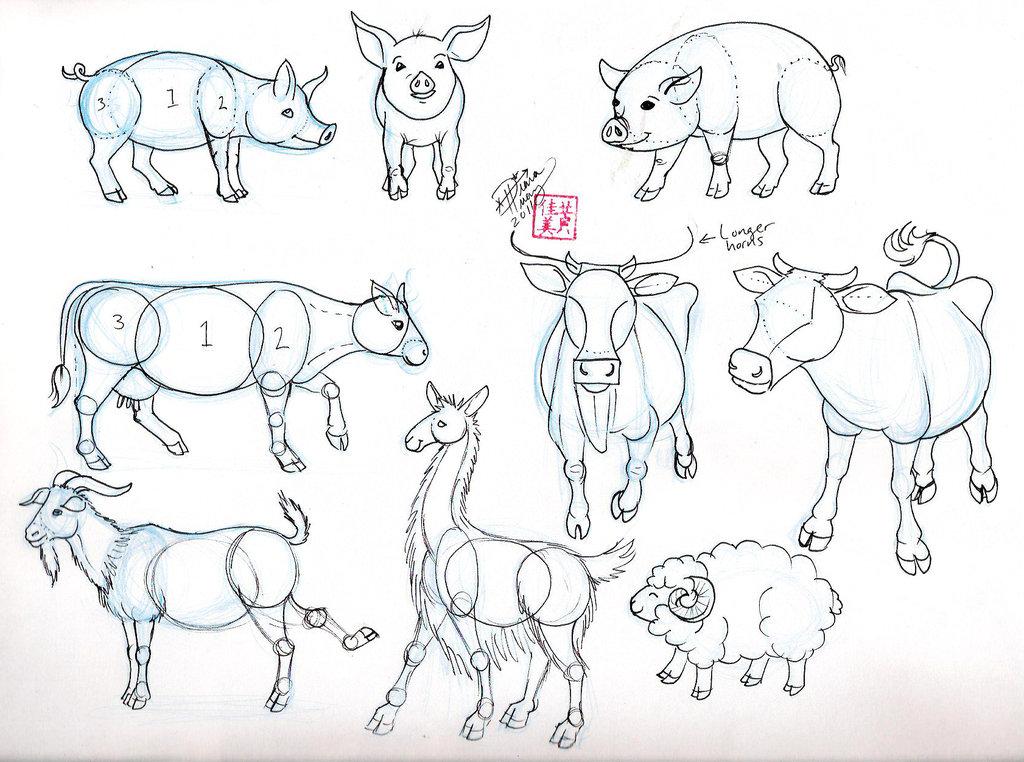 Drawn pig Drawn Cow (
