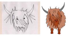 Drawn cattle trace Side web Grays T Art