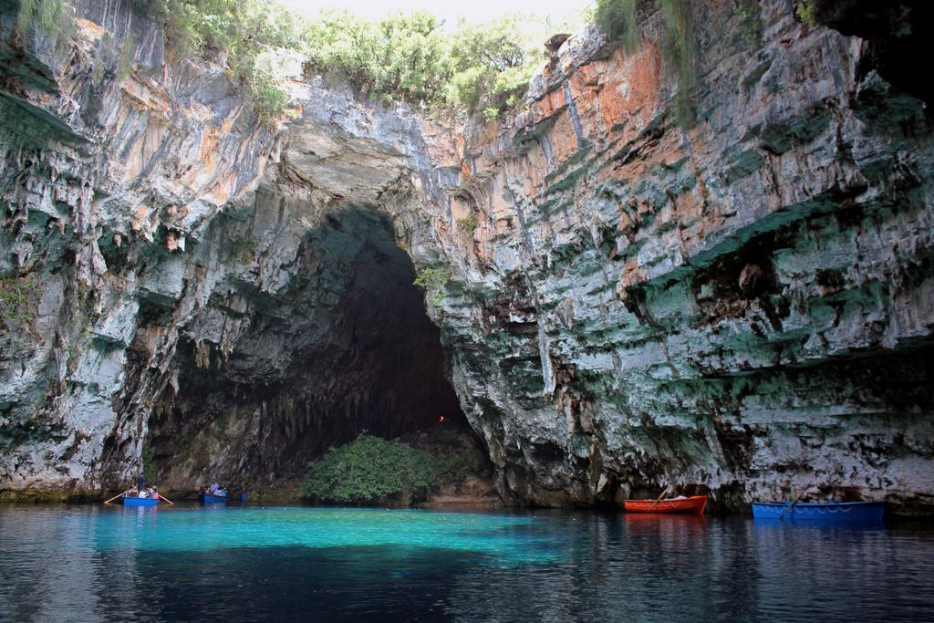 Drawn cavern breathtaking In Melissani Greece Breathtaking Cave
