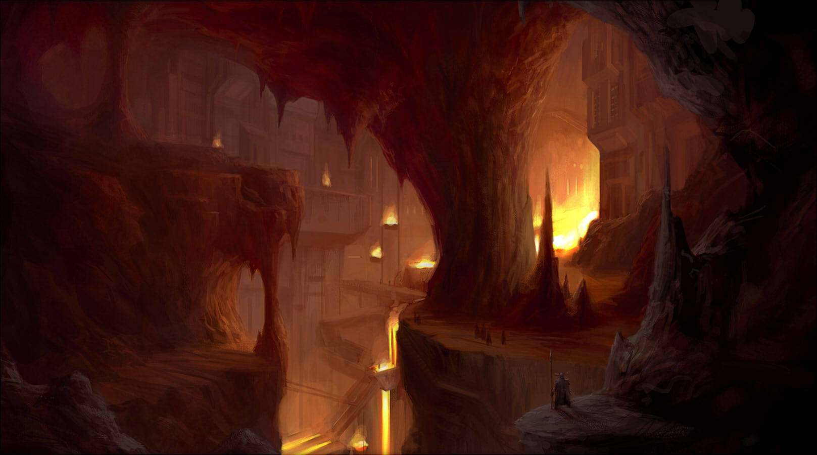Drawn cavern dark cave City fantasy fantasy 1617x900 of