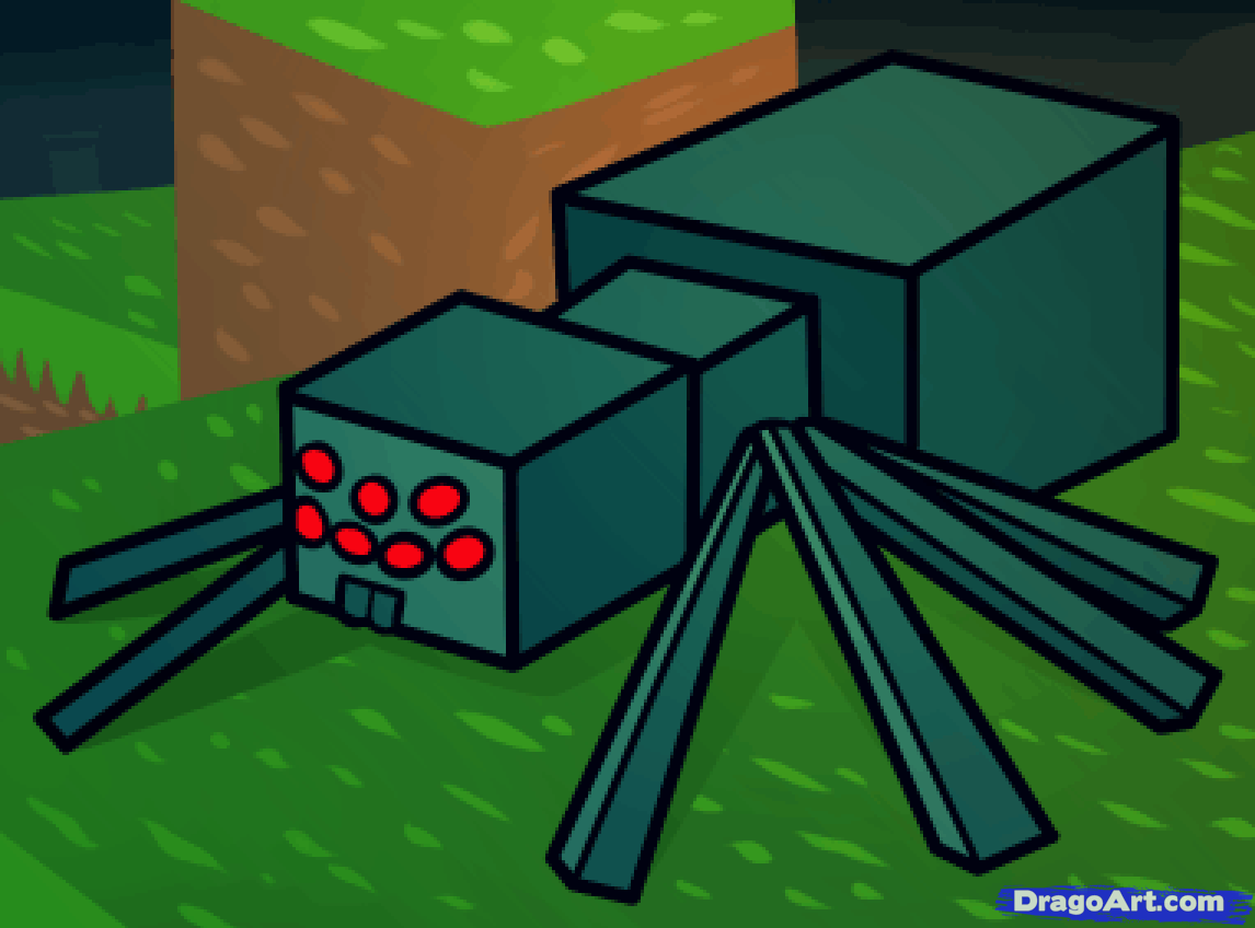 Drawn spider web cave Minecraft Draw how spider minecraft